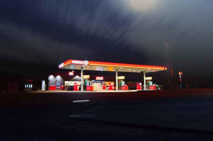 blur dusk evening gas station