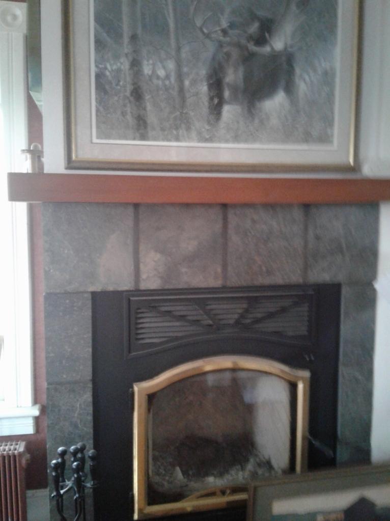 Fireplace in green slate