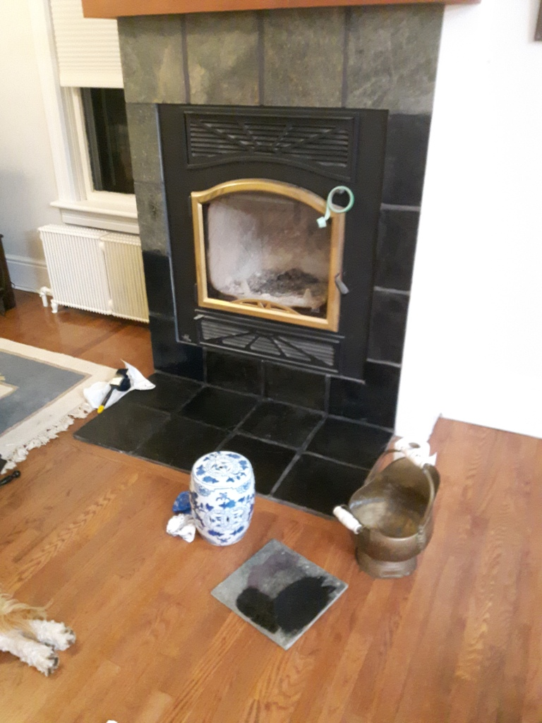 Painting the fireplace tile