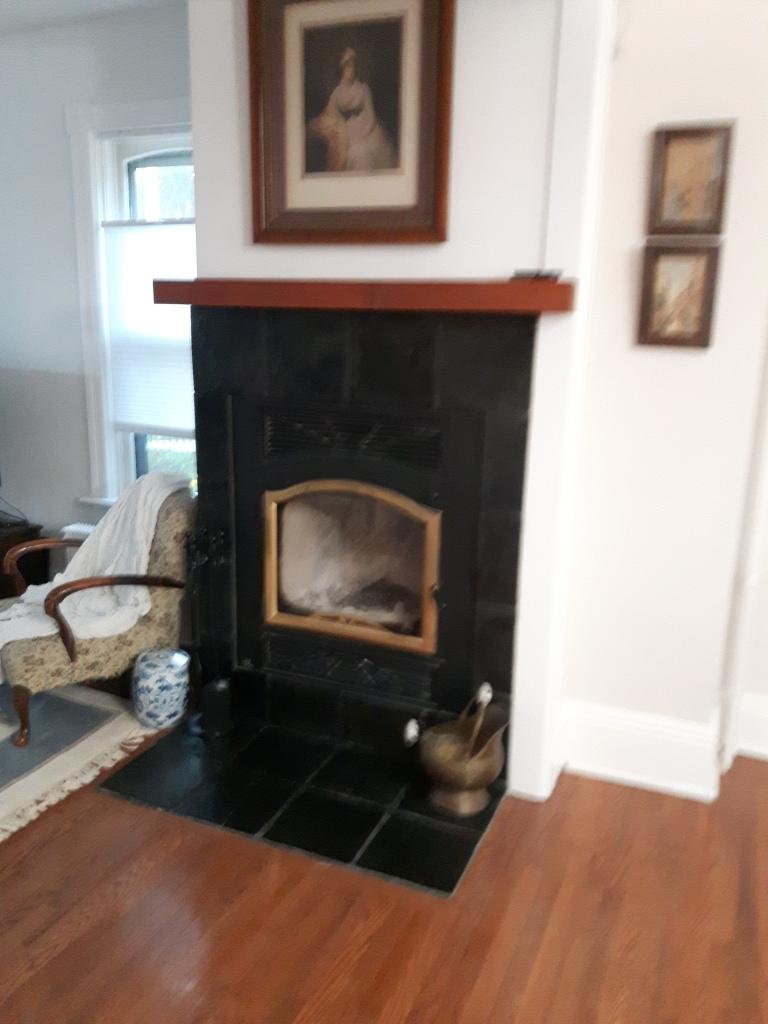 Green slate fireplace painted black