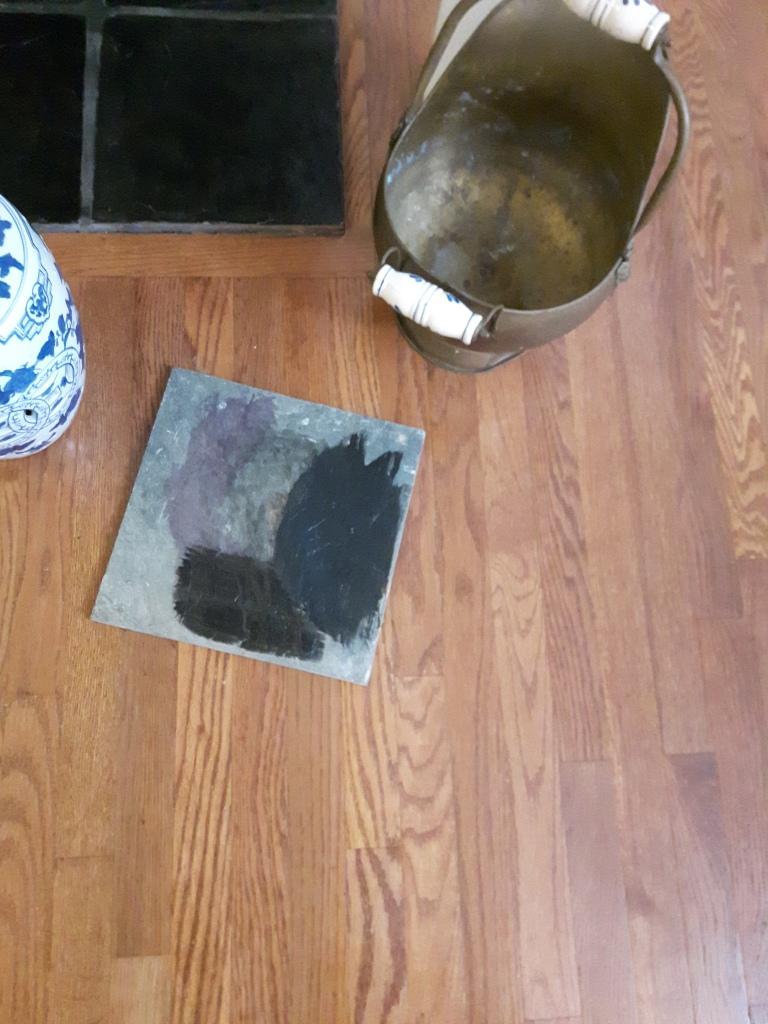 Test paint on slate tile